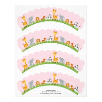 Cute Jungle Animals Girl Scalloped Cupcake Wrapper Flyer