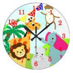 Cute Jungle Animals Kids Clock