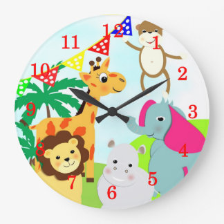 Cute Jungle Animals Kids Clock