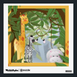 """Cute Jungle Animals Kids Room Wall Decal<br><div class=""""desc"""">A graphic design of jungle animals by artist/designer Charmaine Paulson on a wall decal.</div>"""