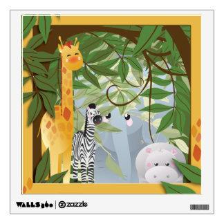 Cute Jungle Animals Kids Room Wall Decal