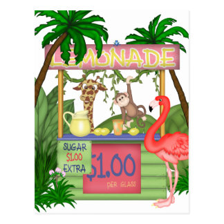 Cute Jungle Animals Lemonade Stand Postcard