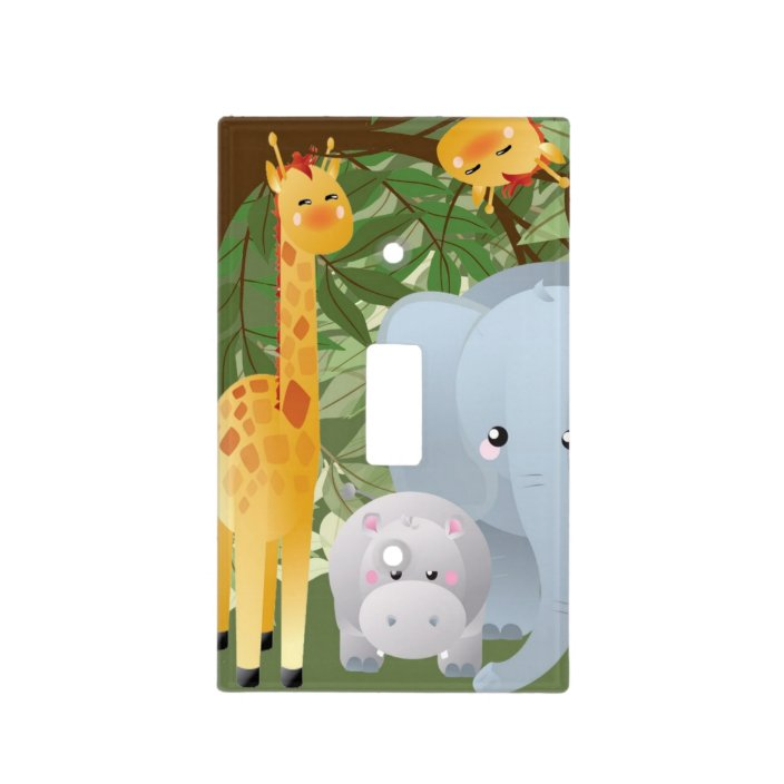 Baby Elephant Light Switch Surround Nursery Decor Safari Zoo Theme