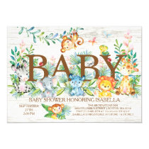 Cute Jungle Animals Neutral Baby shower Invitation