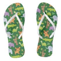 Cute Jungle Animals Patter Flip flops