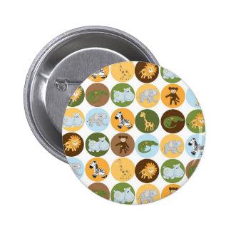 Cute jungle animals pattern 2 inch round button
