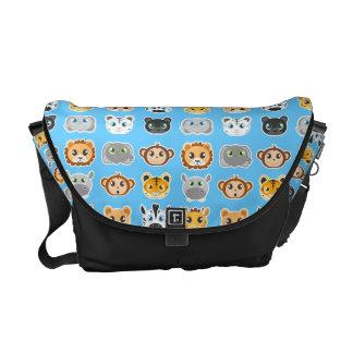 Cute Jungle Animals Pattern Blue Messenger Bag