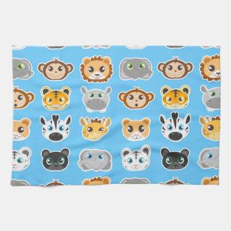 Cute Jungle Animals Pattern Blue Towel