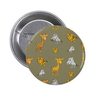 Cute Jungle Animals Pattern Button