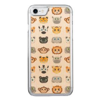 Cute Jungle Animals Pattern Carved iPhone 7 Case