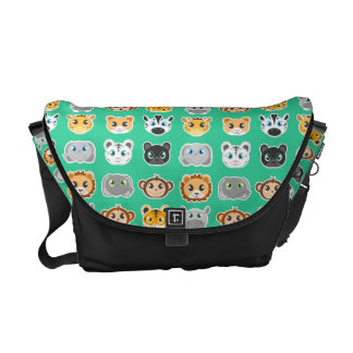 Cute Jungle Animals Pattern Green Messenger Bags