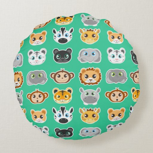 Round Animal Pillows : Cute Jungle Animals Pattern Green Round Pillow Zazzle