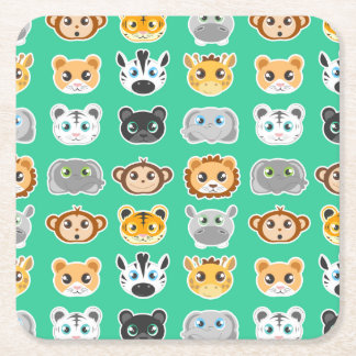 Cute Jungle Animals Pattern Green Square Paper Coaster