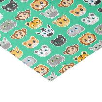 Cute Jungle Animals Pattern Green Tissue Paper