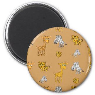 Cute Jungle Animals Pattern Magnet
