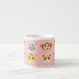 Cute Jungle Animals Pattern Pink 6 Oz Ceramic Espresso Cup