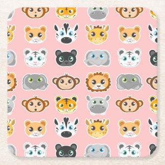 Cute Jungle Animals Pattern Pink Square Paper Coaster