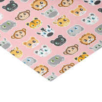 Cute Jungle Animals Pattern Pink Tissue Paper