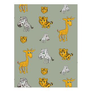 Cute Jungle Animals Pattern Postcard