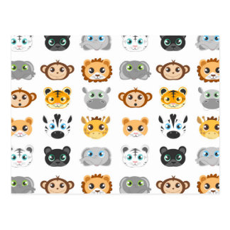 Cute Jungle Animals Pattern Postcard