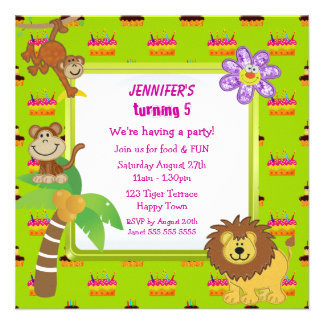 Cute Jungle Animals & Pink Cake Birthday Party Invitations