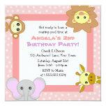 Cute Jungle Animals Pink Kids Birthday Invitations