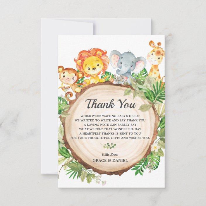 Safari Thank You Card Safari Animals Thank You Card Safari Jungle Animals Thank You Note Shower Thank You Card Safari Girl Thank You Card