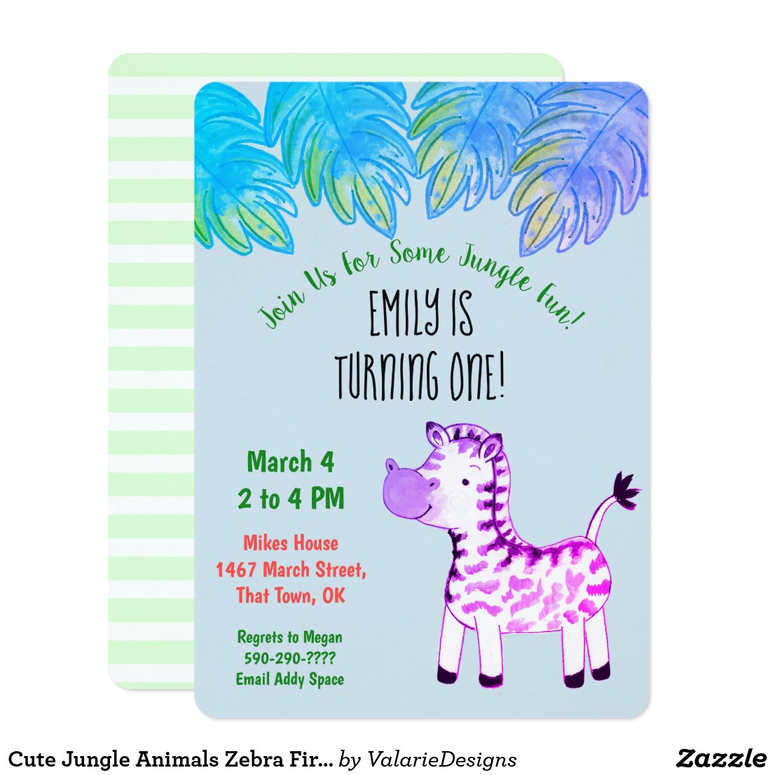 Cute Jungle Animals Zebra First Birthday