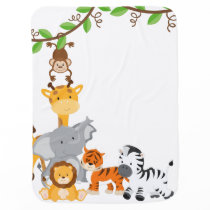 Cute Jungle Baby Animal Baby Blanket