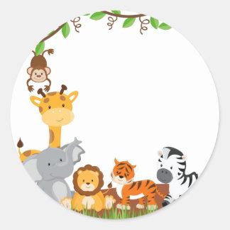 Cute Jungle Baby Animal Sticker Round Sticker