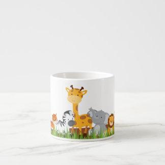 Cute Jungle Baby Animals Espresso Mug 6 Oz Ceramic Espresso Cup