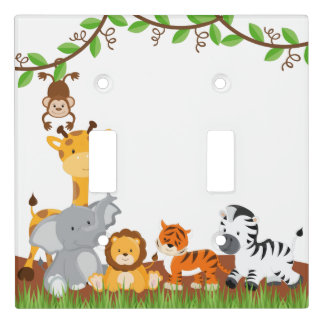 Cute Jungle Baby Animals Light Switch Cover