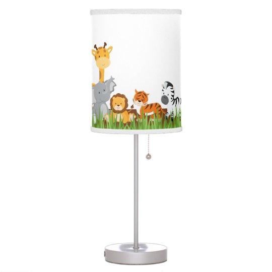 Cute Jungle Baby Animals Table Lamp Zazzle Com