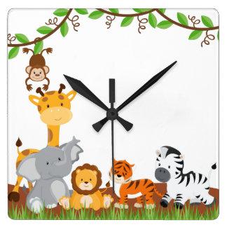 Cute Jungle Baby Animals Wall Clocks
