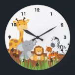 "Cute Jungle Baby Animals Wall Clocks<br><div class=""desc"">An adorable wall clock with cute jungle baby animals for a girl or boy nursery. It is a great gift idea.   Some Graphics;by MareeTruelove design,  by Prettygrafikdesign at store etsy.com/shop</div>"