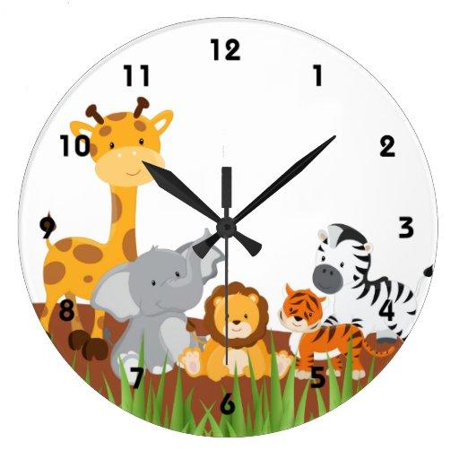 Cute Jungle Baby Animals Wall Clocks Wall Clock Zazzle