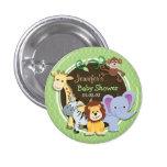 Cute Jungle Baby Shower; Bright Green Ovals 1 Inch Round Button