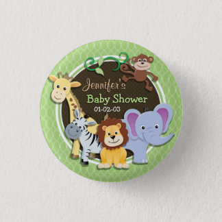 Cute Jungle Baby Shower; Bright Green Ovals Button