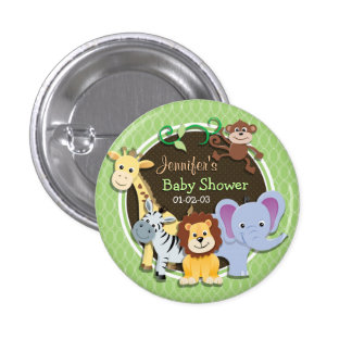 Cute Jungle Baby Shower; Bright Green Ovals Button