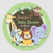 Cute Jungle Baby Shower; Bright Green Ovals Classic Round Sticker
