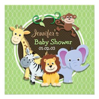 Cute Jungle Baby Shower Bright Green Ovals Personalized Invitation