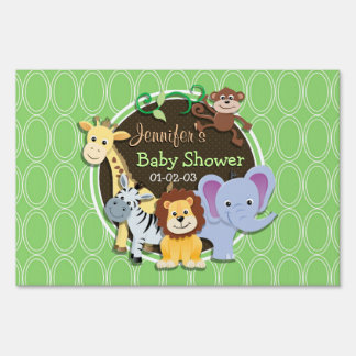 Cute Jungle Baby Shower; Bright Green Ovals Lawn Sign