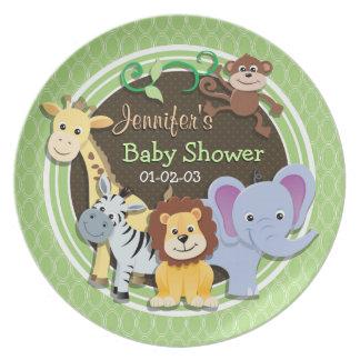Cute Jungle Baby Shower; Bright Green Ovals Melamine Plate