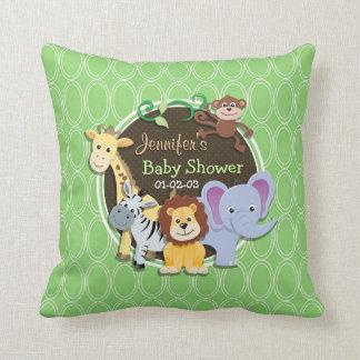 Cute Jungle Baby Shower; Bright Green Ovals Pillow
