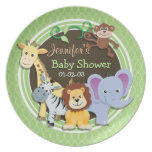 Cute Jungle Baby Shower; Bright Green Ovals Dinner Plates