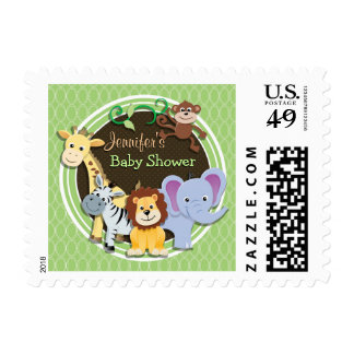 Cute Jungle Baby Shower; Bright Green Ovals Postage