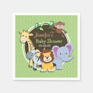 Cute Jungle Baby Shower; Bright Green Ovals Disposable Napkin