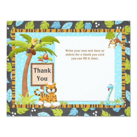 Cute Jungle Baby Shower Thank You Card