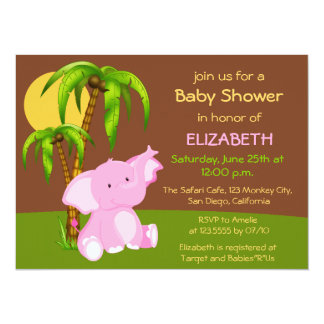 Cute Jungle Elephant Girl Baby Shower Invitation