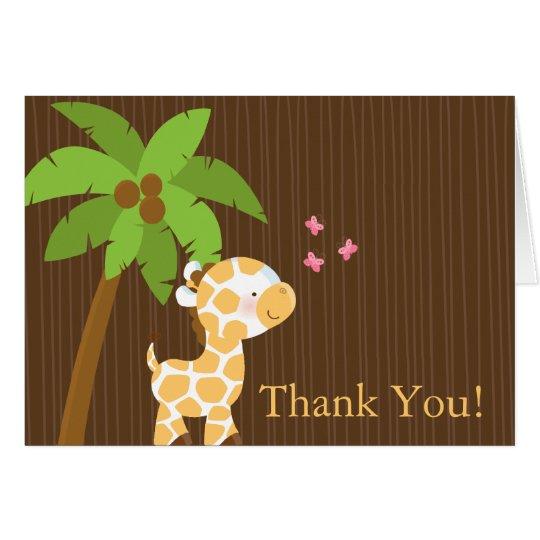 Cute Jungle Giraffe Baby Shower Thank You Card